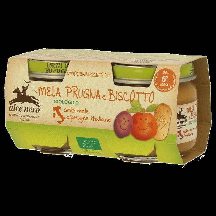 Omogeneizzato di mela, prugna e biscotto biologico