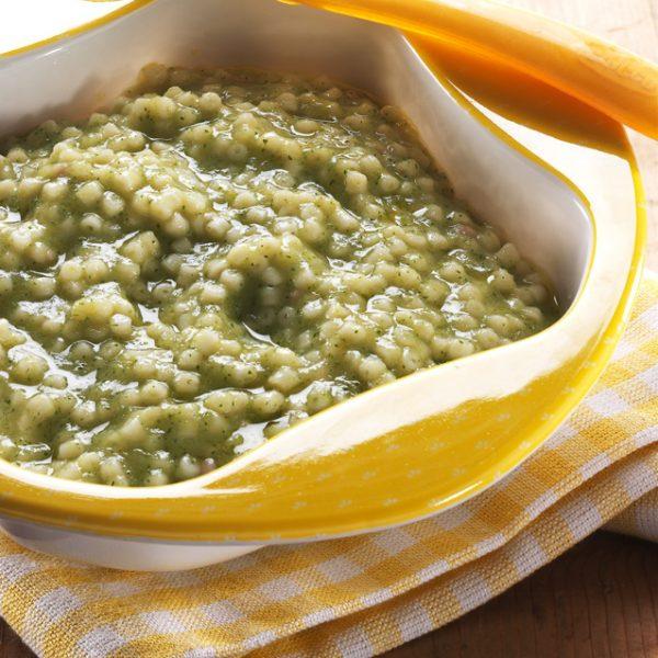 Crema di riso con trota e verdure